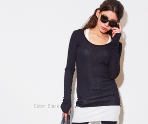 Blue Pepper fine knitt tee thumbhole shirt in black xs