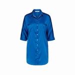 Cyell homewear blouse dress/ nachthemd satijn blauw maat 40